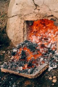 P, IJ, deur van oven wordt geopend