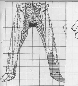 p, textiel, kleding broek achterkant