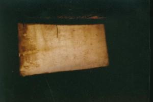 Archeon, ongelooide geitenhuid om een frame heengespannen, 1993